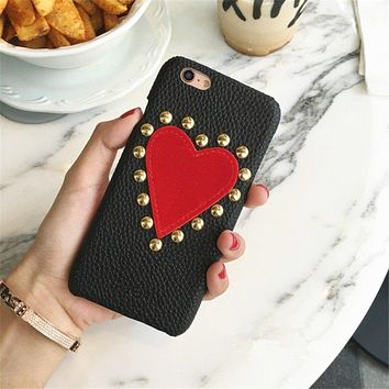 Studded Pleather Heart Phone Case