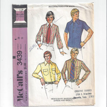McCall's 3439 Pattern for Men's Dress Shirt Wardrobe, Size 38, Neck 15, From 1972, For Knits, Home Sewing Pattern, Vintage Pattern