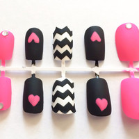 Matte fake nails chevron acrylic nails colorful false nails neon artificial nails