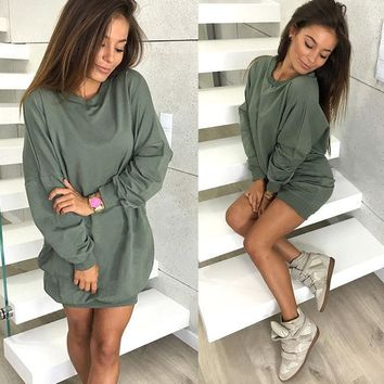 Long Sleeve T Shirt Olive Dress