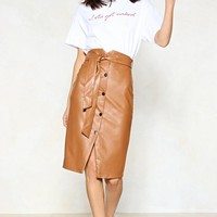 Snap to It Vegan Leather Skirt
