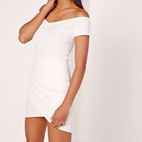 Missguided - Wrap Bardot Bodycon Dress White