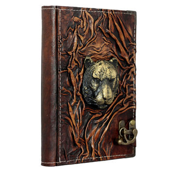 Lion Face 3D Sculpture On A Brown Refillable Leather Journal / Notebook / Diary / Sketchbook