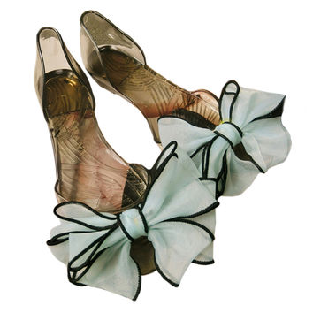 Sandals Peep-toe Bowknot Beach Jelly Shoes Flower  black shoes light blue bowknot  35