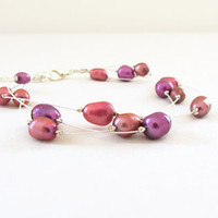 Pink pearl bracelet,  rose pink purple freshwater pearl on silver plated flexible wire , pearl bridal bracelet , UK seller