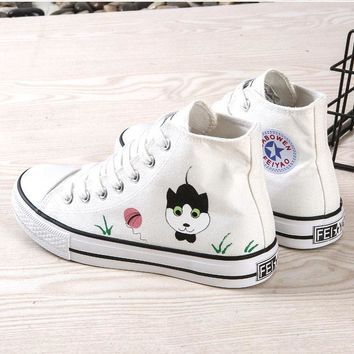 Fashion  White Sneakers Women Hand-Painted Canvas Shoes Cute Chaussures Femme Printed Zapatos