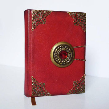 Leather Journal, Magic Spells Book, Witch Journal, Wizard Notebook, Red Diary, Birthday Gift for Girl, Bestfriend, Christmas, Leather Art