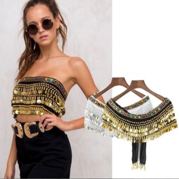 Fashion sequins Tube Top summer new sexy gold ladies wrapped chest top shirt