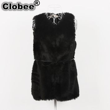 Rex rabbit fur black waistcoat female fur vest winter warm jacket 2017 Office faux fur outerwear coat clothing Vintage