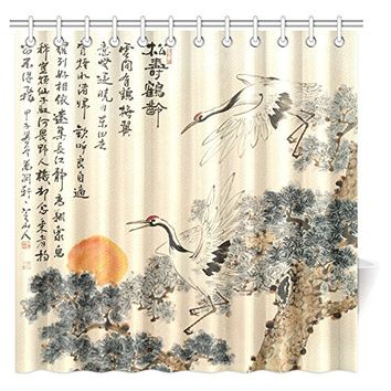 InterestPrint Asian Shower Curtain, Traditional Chinese Painting Pine Trees and Crane Flying Landscape Decor Art Fabric Bathroom Shower Curtain with Hooks, 72 X 72 Inches Extra Long