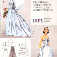 50s Wedding dress Vintage Reproduction sewing pattern bridesmaid Midcentury Grad evening wear gown Burda 7251 Size 10 o 18 UNCUT