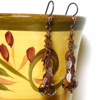 Swarovski Crystal Copper and Copper Leaf Chain Niobium Dangle Earrings