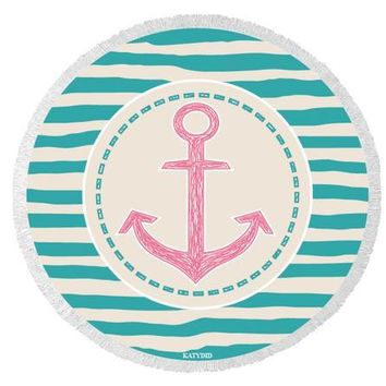 Anchor Round Beach Towel