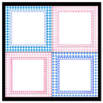 Gingham Frame Backgrounds, Digital Scrapbook, Overlays, Printable Craft Backgrounds, Baby Shower, Invitations