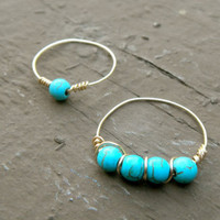 14k Gold Turquoise Agate Pair of Rings by MaesDesigns on Etsy