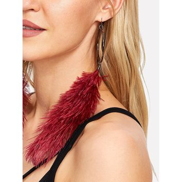 Feather Design Drop Earrings Red