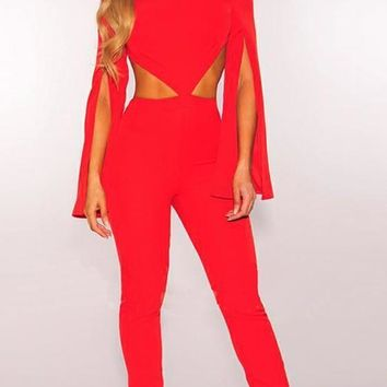 Red Cut Out Slit Cloak Banquet Backout Formal Club Long Jumpsuit Catsuit