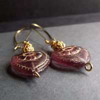 Pink and Gold Heart Earrings:  Pressed Floral Glass Dangle Earrings, Dusty Rose Drop Piered Earrings, Wedding Jewelry