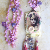 Altered necklace, Crochet Beaded Necklace, Lariat Necklace, Purple, Country Girl, Anklet necklace, Crochet wrap necklace