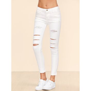 Sarah Destroyed Ankle Jeans - White
