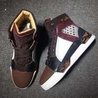 Cl Christian Louboutin Mid Style #2129 Sneakers Fashion Shoes