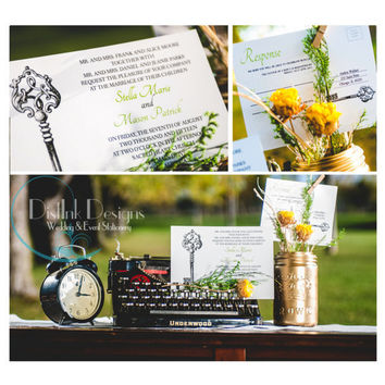 Key Wedding Invitation Vintage Skeleton Key - Digital Invitation Printable Suite w/ reply postcard, formal CUSTOMIZE the COLORS and WORDING
