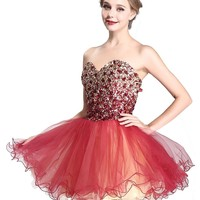 Staychicfashion Rhinestone Beaded Strapless Two Tone Ruched Tulle Party Dress