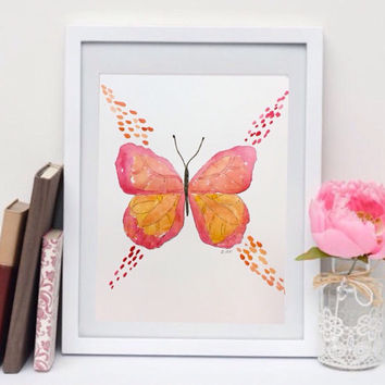 Watercolor butterfly Print, pink nursery art, print of original watercolor, girls room art, boho painting, whimsical art. Pink and orange