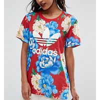 adidas Originals Big Floral Print T-Shirt