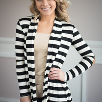 Casual Encounter Striped Cardigan In Black