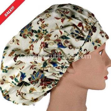 Women's Bouffant, Pixie, or Ponytail Surgical Scrub Hat Cap in Paisley Floral on Cream