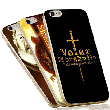 Jon Snow Stark Wolf Valar Morghulis The Game of Thrones Case For iPhone 4 4S 5C 5 5S SE 6 6S 7 Plus Soft TPU Phone Cover