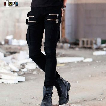 Mens Cargo Pockets Zippers Skinny Biker Motorcycle Denim Jeans