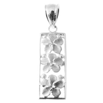 14K SOLID WHITE GOLD HAWAIIAN 3 PLUMERIA FLOWER VERTICAL PENDANT 9MM