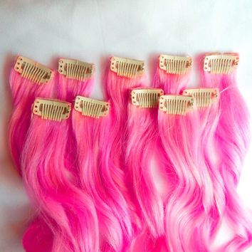 Shop dip dyed extensions on wanelo hot pink 100 human hair extensions clip in hair extensions remy hair extensions pmusecretfo Image collections