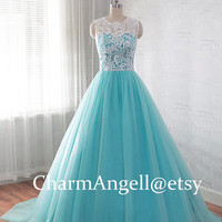 Tulle prom dress, lace ball gowns, quinceanera dress, homecoming dress