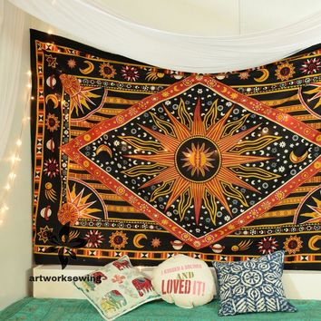 Twin Size Burning Sun Moon Stars Planet Tapestry Wall Hanging Mandala Wall Tapestry Boho Tapestry Hippie Bohemian Yoga Tapestry Wall Decor