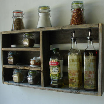 Rustic Reclaimed Wood Spice Rack, Small and Ideal for under Cabinet Wallmount