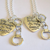 2 Partners In Crime Handcuff You Are Always In My Heart Best Friends Necklaces BFF SISTERS COUPLES