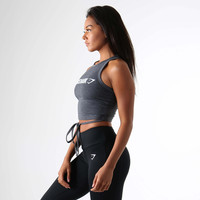 Gymshark Ribbon Crop Top - Charcoal Marl