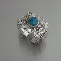 Wire Ring Adjustable Small Chrysocolla Stone