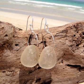 Hawaiian Kauai Clear Beach Glass on 925 Sterling Silver Circular Wire Small Hoop Earrings