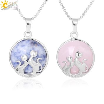 CSJA 2018 Double Cat Kitty Kitten Necklace for Women Fashion Jewelry Slide Shellhard Natural Stone Charms Pendant Jewellery F340