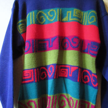 Oversized Sweater Vintage 80s Nordic pattern ski crewneck loose baggy colorful multicolor acrylic knit stripes swirls womens small Pasta