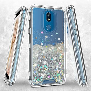 LG K40/Xpression Plus 2/K12 Plus/X4 2019/Harmony 3/LG Solo Case ,Hard Clear Glitter Sparkle Flowing Liquid Heavy Duty Shockproof Three Layer Protective Bling Girls Women Cover - Clear