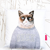 Ohh Deer Grumpy Cat Cushion - Urban Outfitters