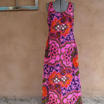 Vintage 1960s Hawaiian Dress Psychedelic Neon Barkcloth Cover Up US10 B36 W33 2014271