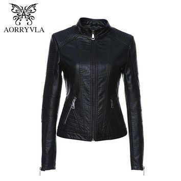 AORRYVLA New Leather Jacket Women Black Color Mandarin Collar Zippers Short Female Faux Leather Jackets High Quality