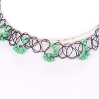 Green Beaded Accent Looped Design Tattoo Choker Necklace
