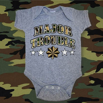 Major Trouble Shirt, Kids Military Shirt, Funny Military Baby, Military Infant Bodysuit, Military Baby, Baby Army Shirt, Applecopter